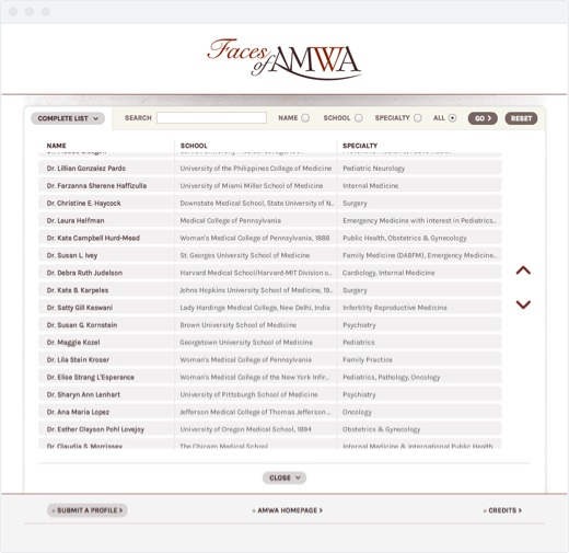 Faces of AMWA - List View